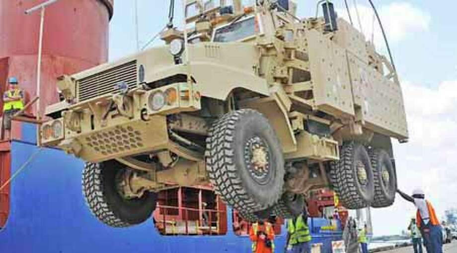 The Army's final vehicle from Iraq came back to the United States, Monday, May 7, 2012, to be part of the First Cavalry Museum at Fort Hood. It is a Mine Resistant Armor Protected vehicle, or MRAP for short.  Photo: Dave Ryan, AP