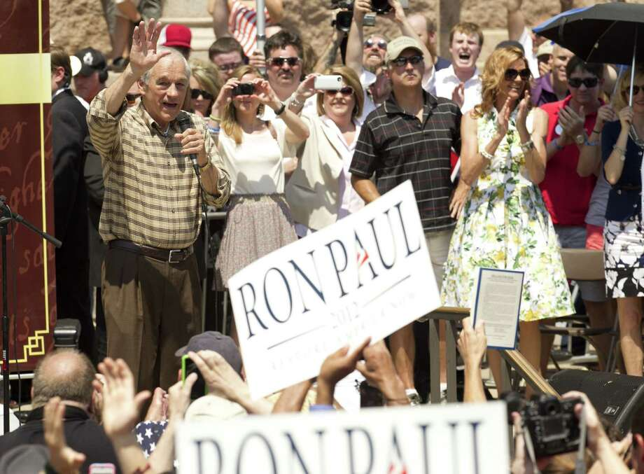 U.S. Rep. Ron Paul speaks at The Tea Party Express rally at the Capitol in Austin on Sunday. Photo: Jay Janner / Austin American-Statesman