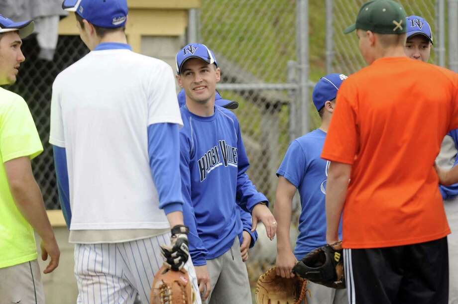 Hoosic Valley High School boy's baseball coach George Brooks, center, during a recent practice in Schaghticoke N.Y. Tuesday May 1, 2012. (Michael P. Farrell/Times Union) Photo: Michael P. Farrell