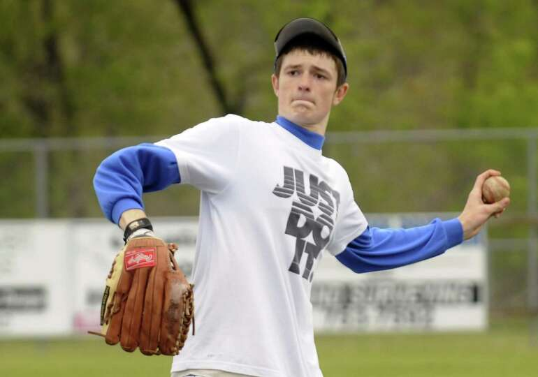 Hoosic Valley High School boy's baseball player John Rooney during a recent practice in Schaghticoke