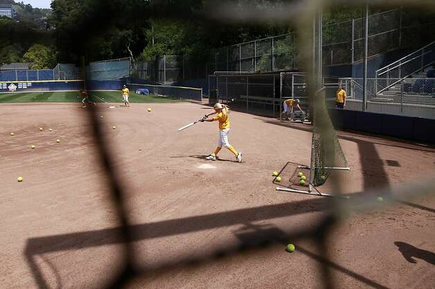 Jace Williams hits during practice. The UC Berkeley Golden Bears are the unanimous number 1 team in the nation for college softball. Photo: Sean Culligan, The Chronicle