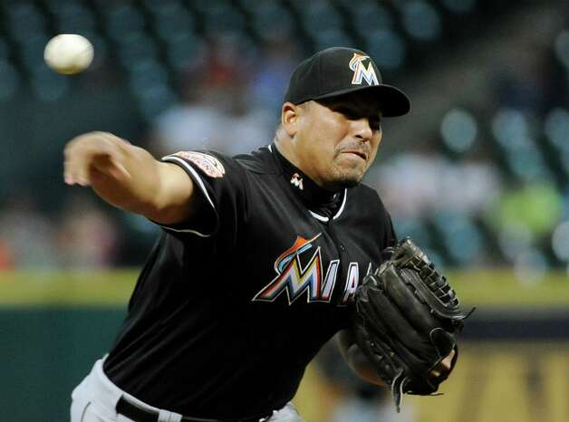 The Marlins' Carlos Zambrano delivers a pitch in the second inning of a baseball game against the Houston Astros on Monday in Houston. Photo: AP