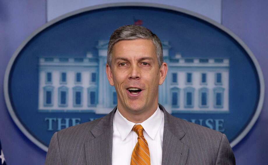 FILE - In this April 20, 2012, file photo Education Secretary Arne Duncan speaks durng the daily news briefing at the White House in Washington. President Barack Obama's vague stance on gay marriage is facing fresh scrutiny. Duncan has broken ranks with the White House, stating his unequivocal support for same-sex marriage. Duncan's comments on Monday, May 7, 2012, came one day after Vice President Joe Biden suggested he supported gay marriage, too. (AP Photo/Carolyn Kaster, File) Photo: Carolyn Kaster