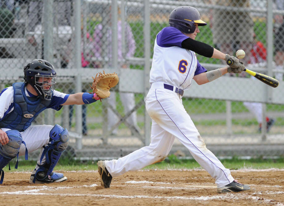 Troy's Vinny LeClair swing for the ball during the 2nd Coaches vs. Cancer game aganist La Salle Monday, May 7, 2012 in Troy, N.Y. (Lori Van Buren / Times Union) Photo: Lori Van Buren
