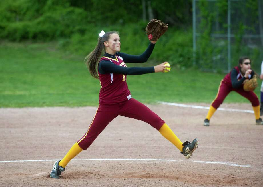 St. Joseph's Tori Ceballos throws as Westhill High School hosts St. Joseph in a softball game in Stamford, Conn., May 7, 2012. Photo: Keelin Daly / Stamford Advocate
