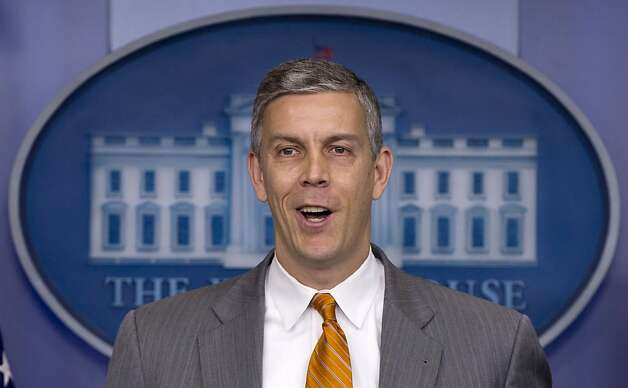 FILE - In this April 20, 2012, file photo Education Secretary Arne Duncan speaks durng the daily news briefing at the White House in Washington. President Barack Obama's vague stance on gay marriage is facing fresh scrutiny. Duncan has broken ranks with the White House, stating his unequivocal support for same-sex marriage. Duncan's comments on Monday, May 7, 2012, came one day after Vice President Joe Biden suggested he supported gay marriage, too. (AP Photo/Carolyn Kaster, File) Photo: Carolyn Kaster, Associated Press