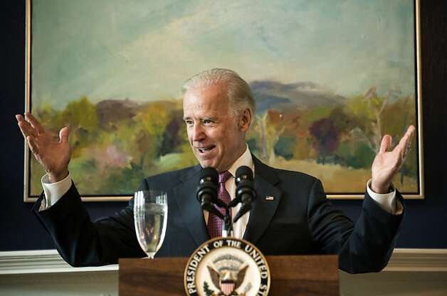 "(FILES)US Vice President Joseph R. Biden speaks during a Cinco de Mayo breakfast at the Vice President's residence at the Naval Observatory May 2, 2012 in Washington, DC.  Biden, who has said in the past that he opposed gay marriage, softened that stance May 6, 2012 saying in an interview he is now ""absolutely comfortable"" with same-sex marriage. Marriage is about love, ""whether they're marriage of lesbians or gay men or heterosexuals,"" Biden told NBC television's ""Meet the Press."" ""Look, I'm vice president of the United States of America. The president sets the policy,"" said Biden. ""I am absolutely comfortable with the fact that men marrying men, women marrying women, and heterosexual men and women are entitled to the same exact rights, all the social rights, civil rights and liberties."" AFP PHOTO/Brendan SMIALOWSKI/FILESBRENDAN SMIALOWSKI/AFP/GettyImages Photo: Brendan Smialowski, AFP/Getty Images"