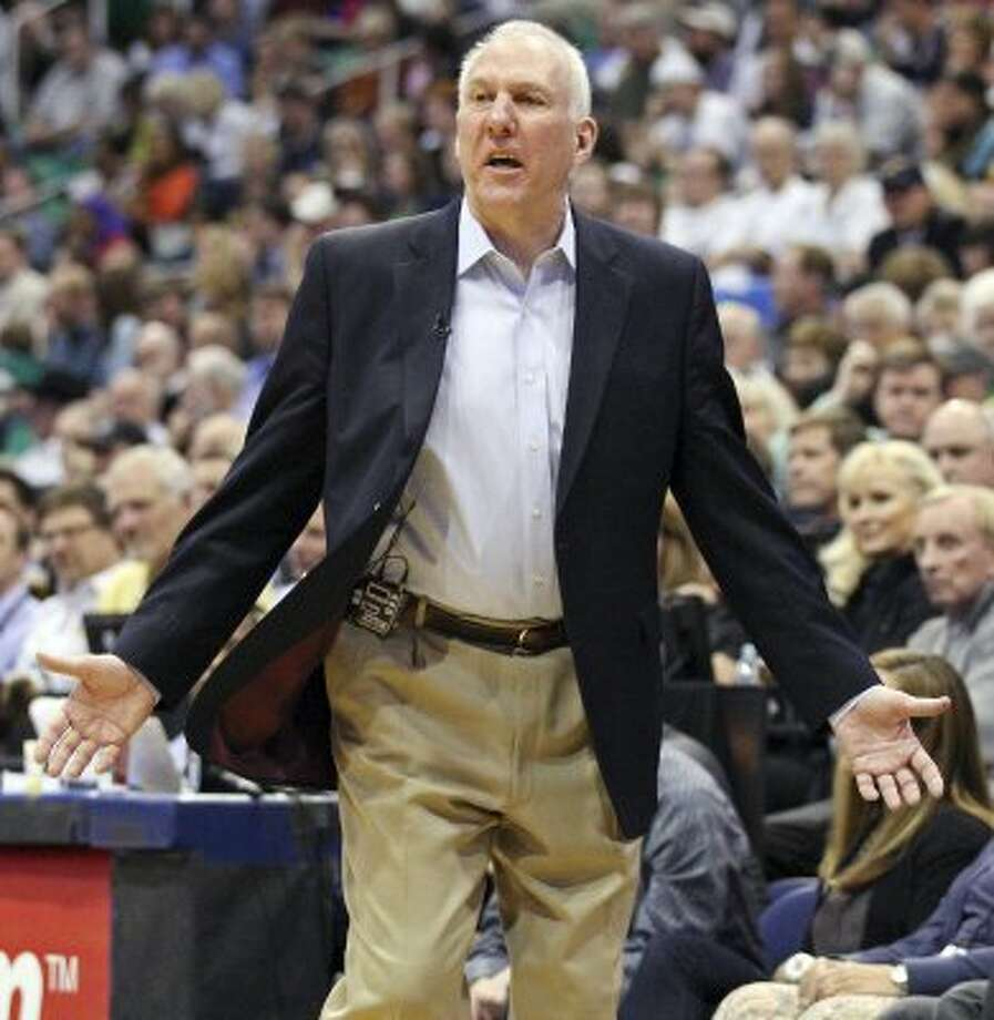 The Spurs' head coach Gregg Popovich reacts after a play during second half action of Game 4 of the Western Conference first round against the Jazz Monday May 7, 2012 at EnergySolutions Arena in Salt Lake City, Utah. The Spurs won 87-81. EDWARD A. ORNELAS/SAN ANTONIO EXPRESS-NEWS (EDWARD A. ORNELAS / SAN ANTONIO EXPRESS-NEWS)