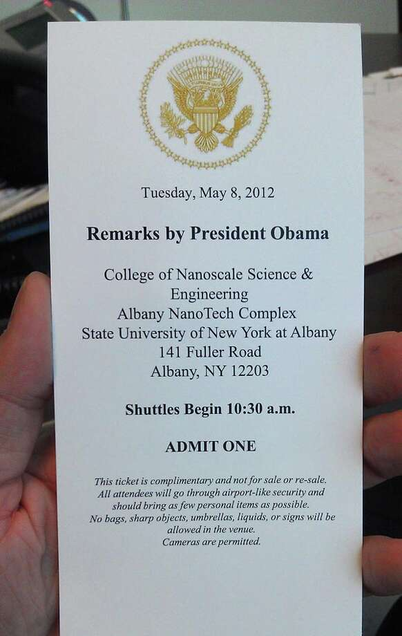 An invitation to attend President Obama's May 8, 2012, appearance at the College of Nanoscale Science and Engineering.