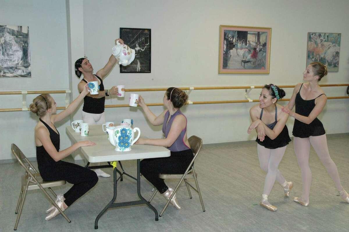Alamo Arts Ballet Theatre dancers -- from left, Noelle Piazzi, Wilder Herrouet Hernandez, Sofia Lopez Franco, Eres Gomez and Natalie Hobizal -- rehearse a scene from