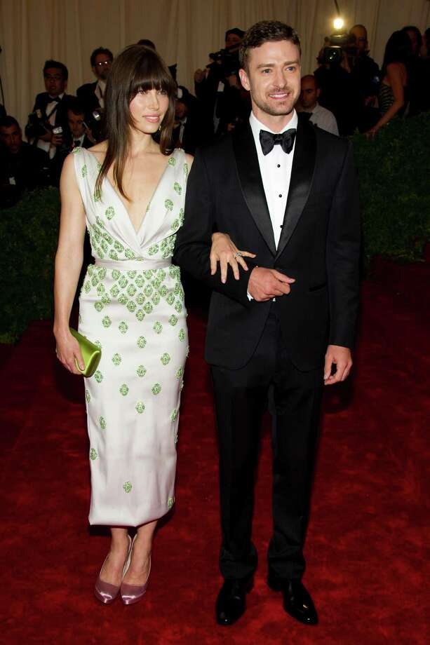 Jessica Biel and Justin Timberlake arrive at the Metropolitan Museum of Art Costume Institute gala benefit, celebrating Elsa Schiaparelli and Miuccia Prada, Monday, May 7, 2012 in New York. (AP Photo/Charles Sykes) Photo: Charles Sykes, Associated Press / FR170266 AP