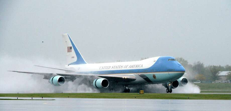 Air Force One arrives Tuesday at Albany International Airport in Colonie. President Barack Obama is in Albany to make a speech at the Nanoscale Science School at the University at Albany. (Skip Dickstein / Times Union) Photo: SKIP DICKSTEIN / 2012