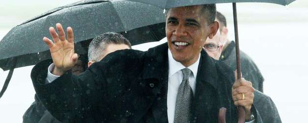 President Barack Obama arrives Tuesday at Albany International Airport in Colonie.  (Skip Dickstein / Times Union)
