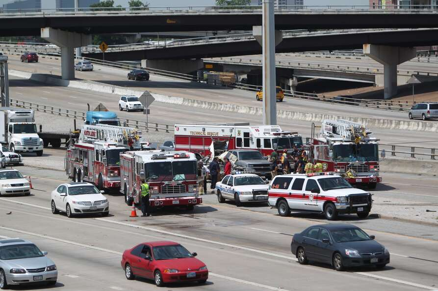 A single-car crash just before noon Tuesday in the southbound lanes of the Southwest  Freeway nea