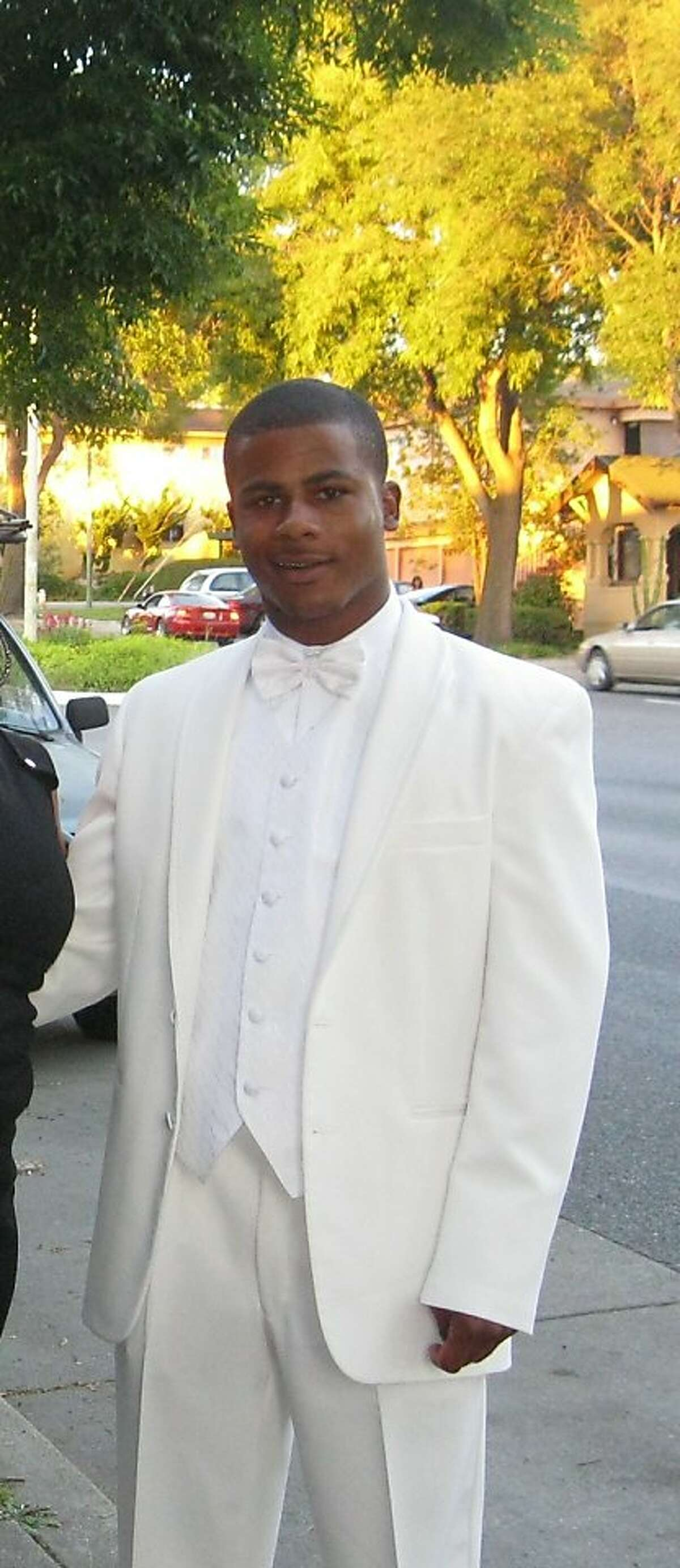 Alan Blueford, in a photo taken recently at his high school prom. Blueford was shot to death by an Oakland police officer May 6, 2012, allegedly after he pointed a gun at the officer.