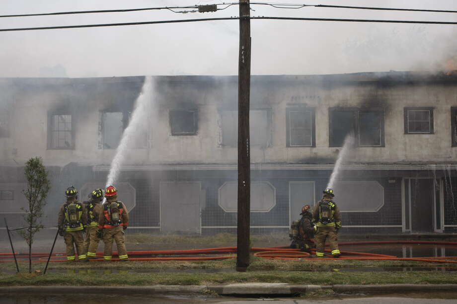 Firefighters battled a large fire at an abandoned building in north