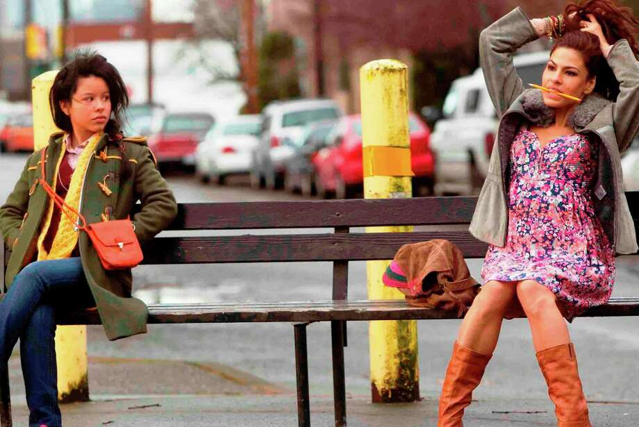 """Ansiedad (Cierra Ramirez, right) looks disapprovingly at her mom, Grace (Eva Mendes), in """"Girl in Progress."""" Photo: Lionsgate Pictures"""