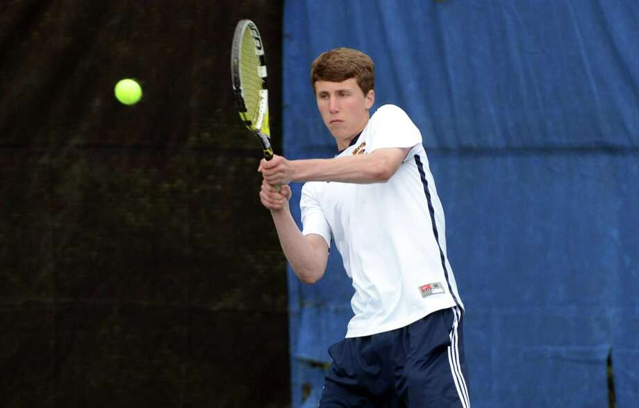 Weston's David Freeman, in action at second singles last Wednesday against Joel Barlow, won at first doubles with Henry Morris Monday in a 5-2 win over Newtown. Photo: Amy Mortensen, Amy Mortensen / For The Westport News / Connecticut Post Freelance