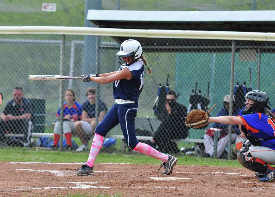 Staples Nikki Bukovsky takes a swing against Danbury. Bukovsky had one of the Lady Wreckers' two hits in a 1-0 loss. Photo: Tom Werner / Contributed Photo