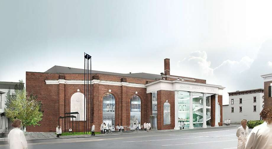 This undated artist's rendering provided by OMA shows a proposed $15 million performance space for duration-based works of art lasting from six hours to several days to be housed in a former tennis center in Hudson, N.Y. Performance artist Marina Abramovic says the 23,000-square-foot facility will feature ramps and specially designed lighting and furniture, including chairs equipped with wheels for visitors who fall asleep during the lengthy performances. (AP Photo/OMA) Photo: Associated Press