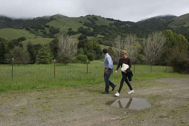 George Lucas will be building a 270,000 square foot digital media production compound on Grady Ranch in San Rafael, Calif.,  just past the cyprus trees seen in the background as neighbor Liz Dale walks on the planned driveway to the complex on Friday, March 30, 2012. Photo: Liz Hafalia, The Chronicle