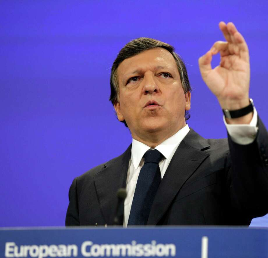 European Commission President Jose Manuel Barroso gestures while speaking during a media conference at EU headquarters in Brussels on Tuesday, May 8, 2012. The European Commission has called on EU nations to stick to their promised budget cuts despite voter discontent in France and Greece, but promised new efforts to boost growth to alleviate economic hardship. (AP Photo/Virginia Mayo) Photo: Virginia Mayo / AP
