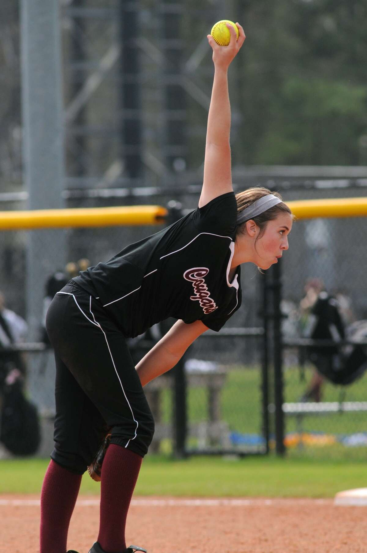 Cinco Ranch pitcher Kayla Ober works against The Woodlands. Freelance photo by Jerry Baker
