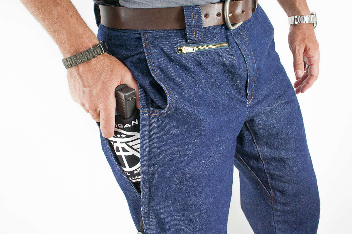 Made to conceal a firearm, these jeans were designed by former HPD officer Brian Hoffner.