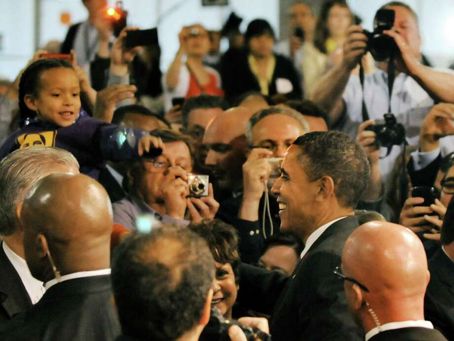 President Barack Obama meets guests after speaking on Tuesday, May 8, 2012, at University at Albany College of Nanoscale Science and Engineering in Albany, N.Y. (Cindy Schultz / Times Union) Photo: Cindy Schultz / 00017555B