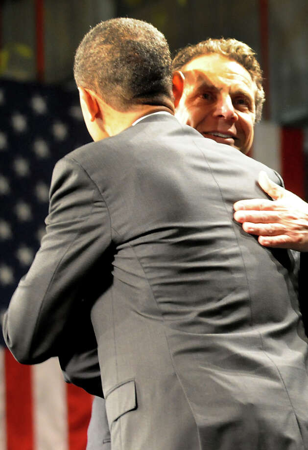 Gov. Andrew Cuomo, right, greets President Barack Obama on Tuesday, May 8, 2012, at University at Albany College of Nanoscale Science and Engineering in Albany, N.Y. (Cindy Schultz / Times Union) Photo: Cindy Schultz / 00017555B