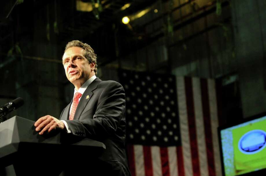 Gov. Andrew Cuomo introduces President Barack Obama on Tuesday, May 8, 2012, at the University at Albany College of Nanoscale Science and Engineering in Albany, N.Y. (Cindy Schultz / Times Union) Photo: Cindy Schultz / 00017555B