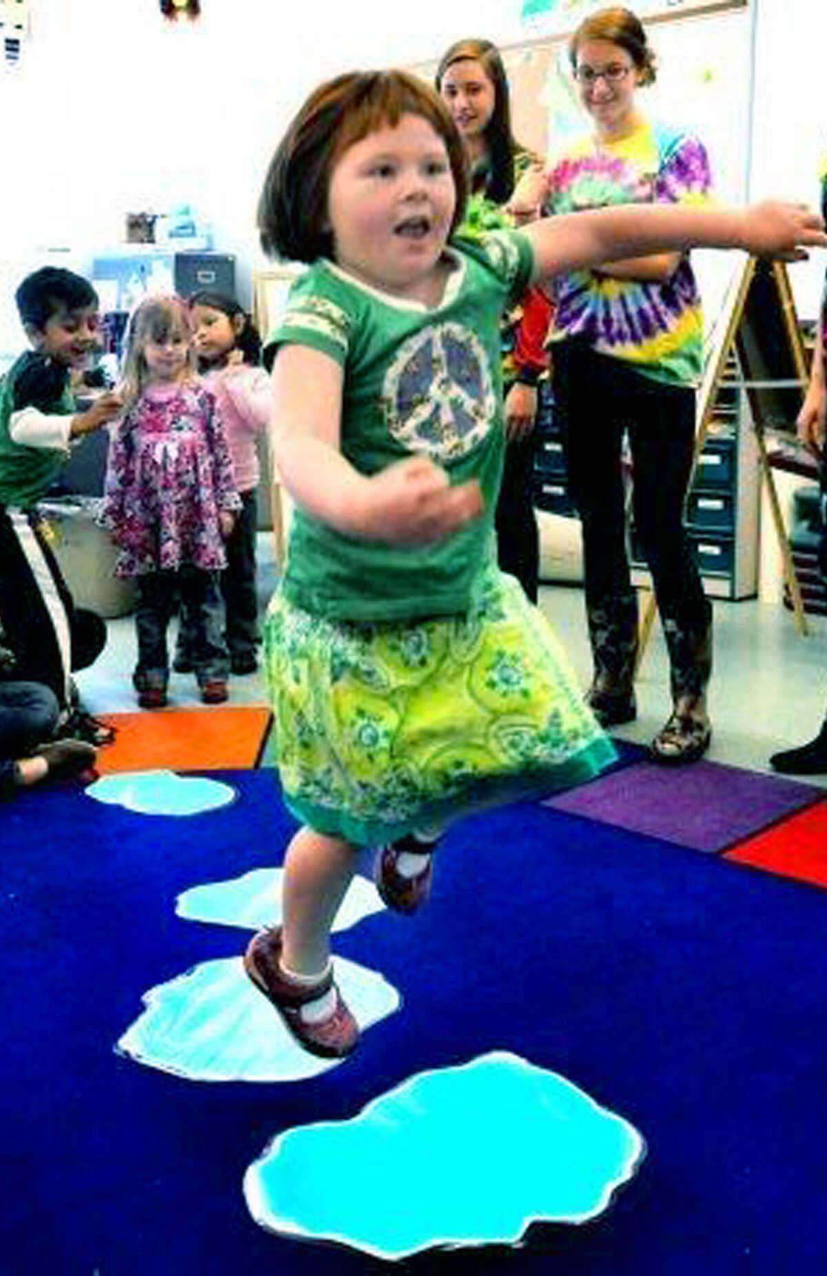 Emma Kavaneah, 5, jumps