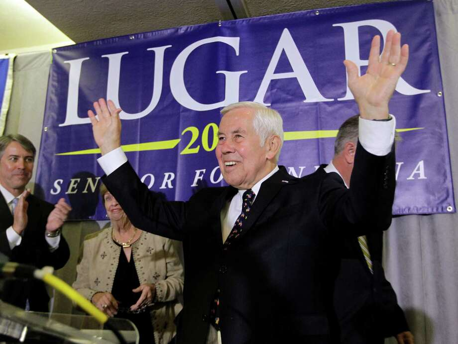 Sen. Richard Lugar reacts after giving a speech Tuesday, May 8, 2012, in Indianapolis. Lugar lost his Republican Senate primary on Tuesday to state Treasurer Richard Mourdock.  (AP Photo/Darron Cummings) Photo: Darron Cummings
