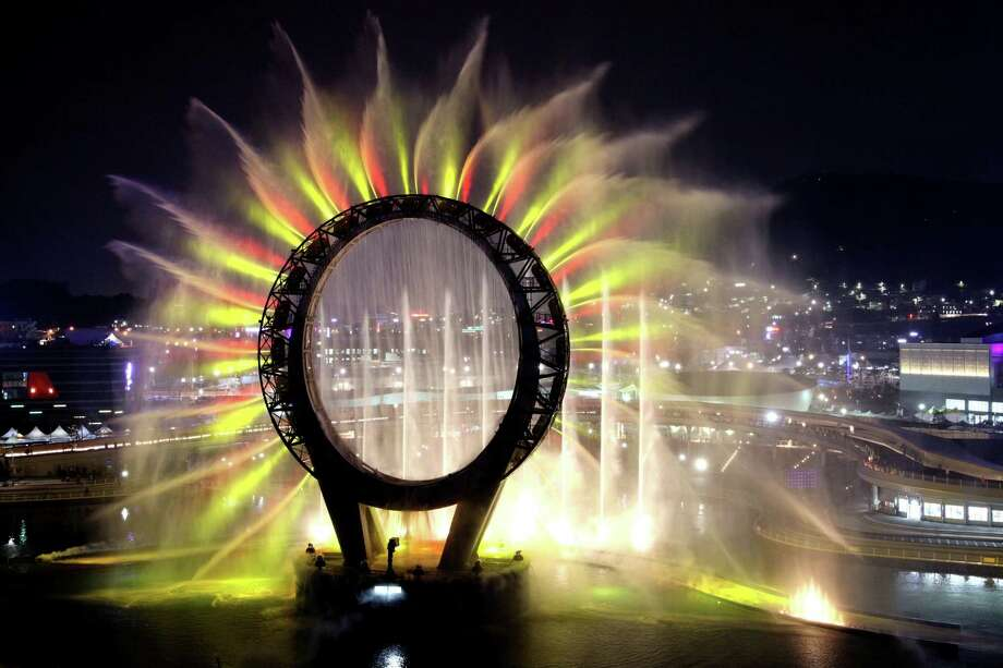 "The Big O, a water screen that is a landmark of the Expo 2012, is seen during a media day of the expo, in Yeosu, South Korea, Wednesday. The expo will open for three months on May 12 under the theme of ""The Living Ocean and Coast: Diversity of Resources and Sustainable Activities."" (AP Photo/Yonhap)  Photo: AP"