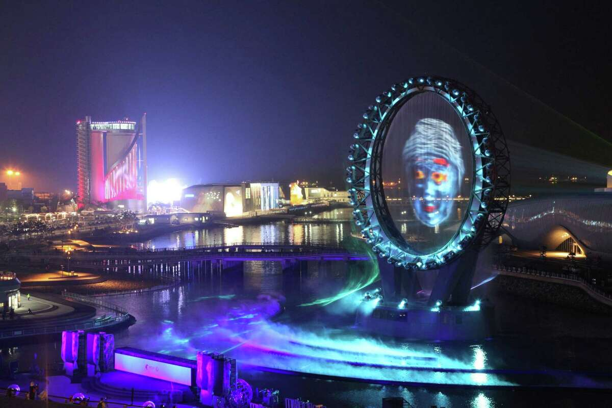 The Big O, a water screen that is a landmark of the Expo 2012, is seen during a media day of the expo, in Yeosu, South Korea, Wednesday. The expo will open for three months on May 12 under the theme of