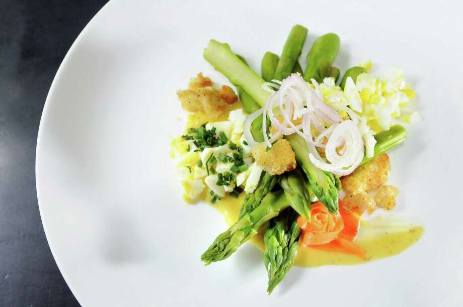 Asparagus dish created by chef Dominic Colose on Wednesday, May 2, 2012, at the Wine Bar in Saratoga Springs, N.Y. (Cindy Schultz / Times Union) Photo: Cindy Schultz /  00017514A