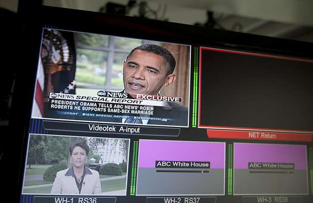 President Barack Obama is seen on television monitors in the White House briefing room in Washington, Wednesday, May 9, 2012. President Barack Obama told an ABC interviewer that he supports gay marriage. Photo: Carolyn Kaster, Associated Press