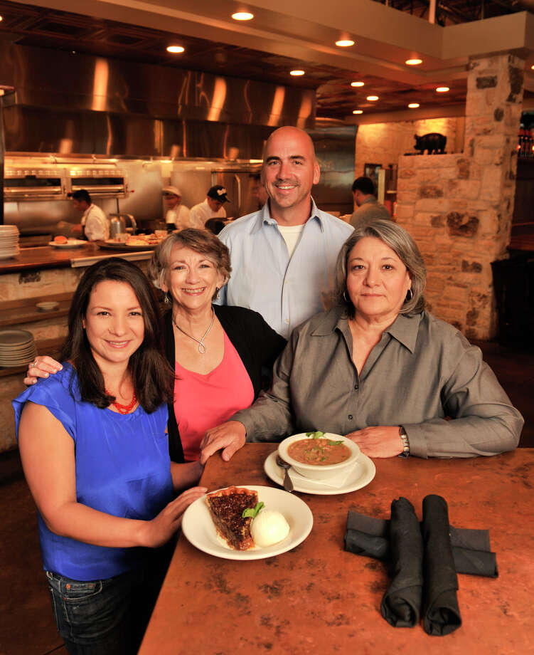 SLUG: Steve Warner-Photo Request 57313-May, 8, 2012-San antonio, Texas---Adrienne Warner of Two Step restaurant, , Brenda Warner, Edna Munoz, and Chef Steve Warner with Borracho beans and pecan pie. The recipe's are the recipe's of Brenda Warner and Edna Munoz, the mother's of the two restauranteurs. Photo: Robin Jerstad, Robin Jerstad/For The Express-News