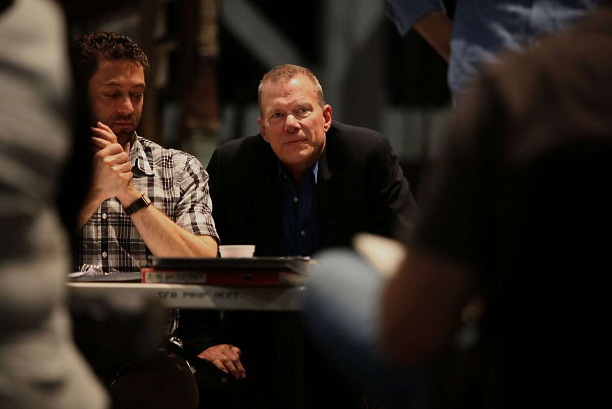 """San Francisco Opera general director David Gockley (middle) during rehearsal for upcoming """"Ring Cycle"""" with associate director Christian Rath (left) at Zellerbach Rehearsal Hall, Calif., on Thursday, May 5, 2011, as they talk with singers Heidi Melton and Brandon Jovanovich."""
