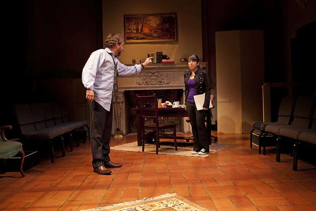 "Michael Storm is the professor John and Josie Alvarez is his accusing student Carol in TheatreFirst's production of David Mamet's ""Oleanna"" Photo: Calvin Jung"