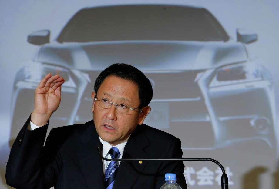 Toyota Motor Corp. President Akio Toyoda speaks during a news conference at the automaker's headquarters in Tokyo Wednesday, May 9, 2012. Toyota's January-March profit more than quadrupled to 121 billion yen ($1.5 billion), and the automaker gave upbeat forecasts, marking a solid recovery from a hardship-filled year following the tsunami in Japan. Toyota's profit for the fiscal year ended March plunged 30 percent to 283.6 billion yen ($3.5 billion), down from 408 billion yen the previous fiscal year, as last year's tsunami damaged supply chains in northeastern Japan and hobbled Toyota production around the world. Photo: AP