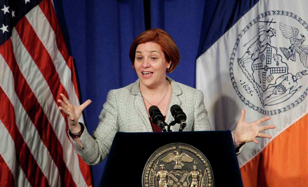 City Council Speaker Christine Quinn speaks to reporters during a news conference at city hall in New York, Wednesday, May 9, 2012. Quinn, who is getting married to her same-sex partner this month, was reacting to President Barack Obama's recent statement in support of gay marriage.