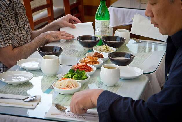 Banchan at the table at Manna Restaurant in San Francisco , Calif., is seen on Saturday, May 5th, 2012. Photo: John Storey
