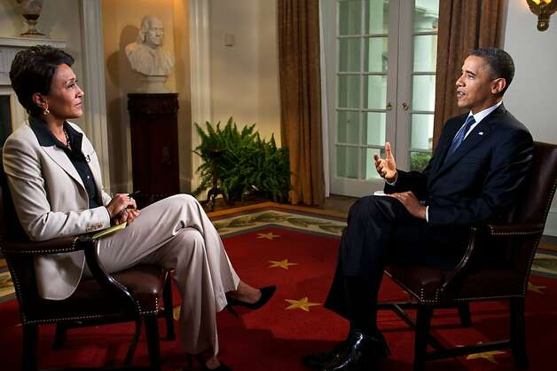 President Barack Obama participates in an interview with Robin Roberts of ABC's Good Morning America, in the Cabinet Room of the White House on May 9, 2012 in Washington, DC. During the interview, President Obama expressed his support for gay marriage, a first for a U.S. president. Photo: The White House, Getty Images