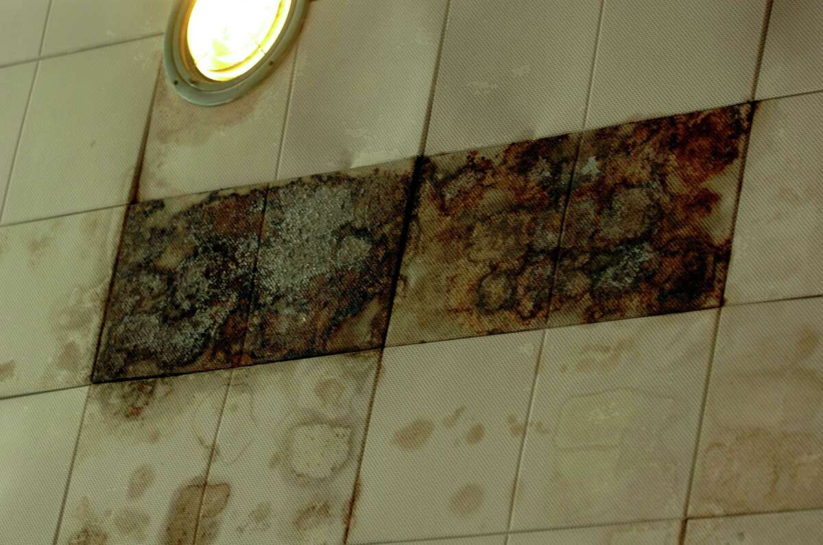 Water-damaged ceiling tiles at the Eastern Greenwich Civic Center in Old Greenwich.