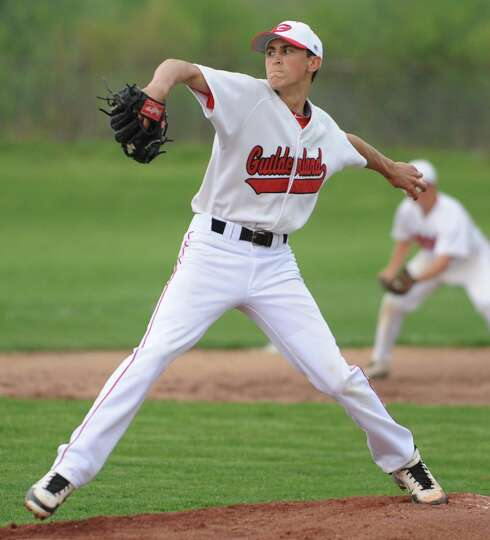 Guilderland's Dylan Collett pitches the ball during a baseball game against Columbia Wednesday, May