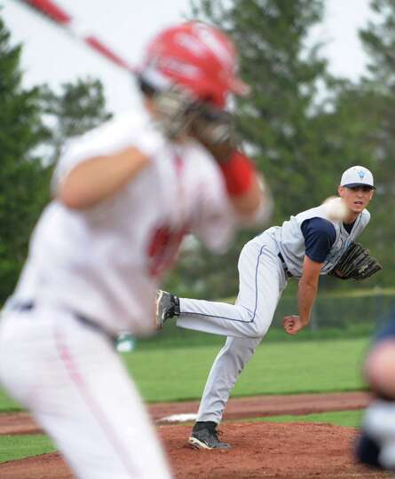 Columbia's Conner Ramon pitches the ball during a baseball game against Guilderland Wednesday, May 9