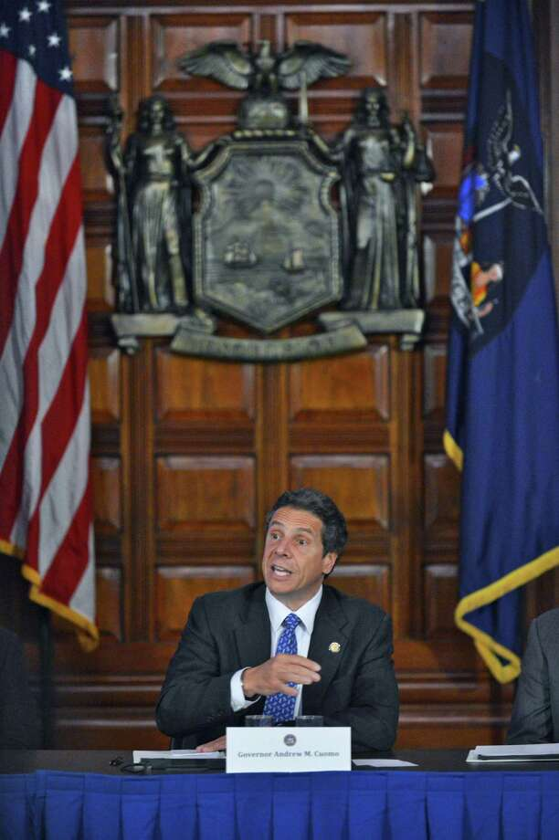 NYS Gov. Andrew Cuomo,speaks during a Cabinet meeting at the Capitol Wednesday May 9, 2012.  (John Carl D'Annibale / Times Union) Photo: John Carl D'Annibale / 00017616A