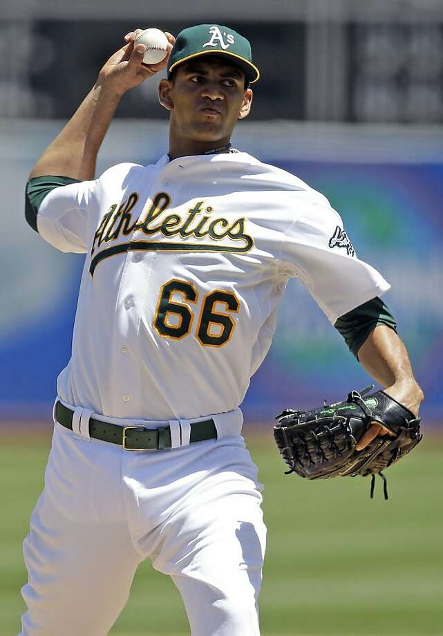 Oakland Athletics starting pitcher Tyson Ross throws to the Toronto Blue Jays during the second inning of a baseball game, Wednesday, May 9, 2012, in Oakland, Calif. (AP Photo/Marcio Jose Sanchez) Photo: Marcio Jose Sanchez, Associated Press