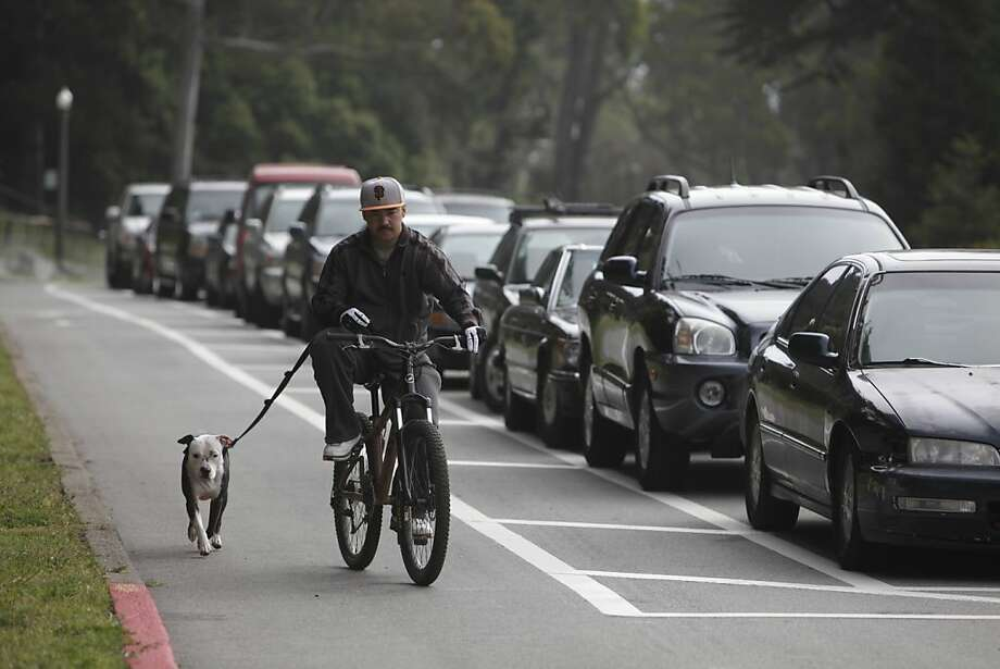 David of San Francisco walks his dog, Willie, as he rides his bike in a new separated bikeway in Golden Gate Park along John F. Kennedy Drive which separates bicyclists from traffic by a new parking zone for cars on Wednesday, May 9, 2012 in San Francisco, Calif. Photo: Lea Suzuki, The Chronicle